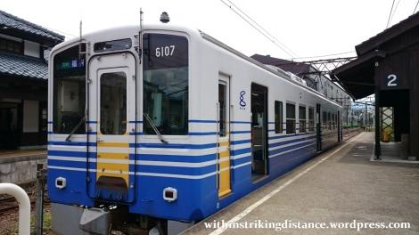 30Jun15 002 Japan Honshu Fukui Katsuyama Station Eiheiji Line Echizen Railway Type MC6101 Train
