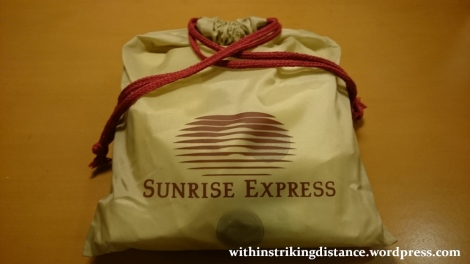 05-06Jul15 007 Japan Honshu 285 Series EMU JR Tokyo Izumo-shi Sunrise Izumo Night Train Sleeper Single Deluxe Room Amenity Kit
